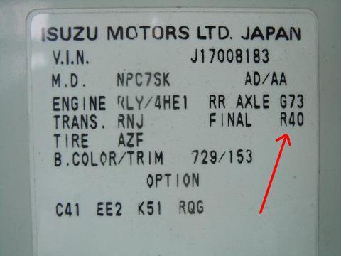 Isuzu Differential Gear Ratio Code | Isuzu NPR NRR Truck Parts | Busbee